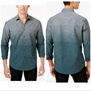 New INC Men's ombré cotton green dress shirt